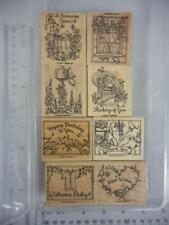 Stampin Up! FEATHERED FRIENDS 8 Wood Mount Rubber Stamps 1999 Birds Birthday 18