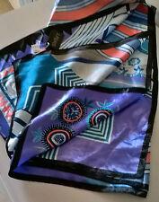 Foulard Fazzoletto grande cm 90x90 Quadrato. Pashima sciarpa Fantasia turchese