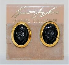 NWT KENNETH JAY LANE Couture Colletion Black Intaglio Clip-on Earrings (On Card)