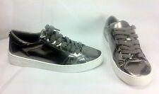 Michael Kors Keaton Women Shoes Silver Mirrored Lace-up Sneakers Sz 6 M