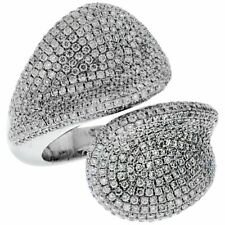 Set In Real 925 Silver Wrap Ring 3.80ct Round Cubic Zirconias Are All Micro Pavé