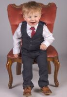 Boys Suits 4 Piece Navy Waistcoat Suit Wedding Page Boy Baby Formal Party Smart