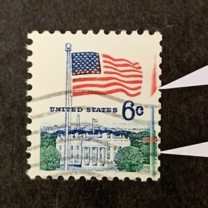 S5/47 US Stamps Scott 6c Extra Red & Green Ink Line Errors UNH Nice EFO Coll