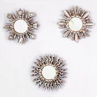 "Silver Small Sunburst Wall Mirror 6""- Wood Round mirror for Wall decor set 3"