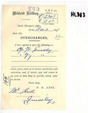 HL383 GB 1891 Midland Railway Derby OVERCHARGES Bill Guiseley Station NEW FIND