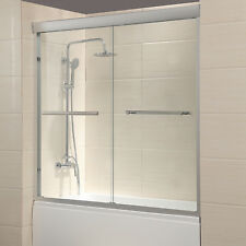 "Door 60"" Framed 1/4"" Clear Glass 2 Sliding Bath Shower Brushed Nickel Finish"