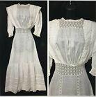 Antique Victorian Edwardian White Long Wedding Bridal Tea Lace Cotton Lawn Dress