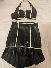 Black And White Latex Bra And Skirt