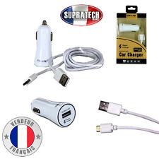 Chargeur Rapide Voiture Allume Cigare Blanc avec Connecteur USB Type-C 5V 9V 12V
