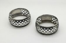 Birks Sterling Silver Napkin Rings  Matching Pair No Monogram Pierced Reticulate