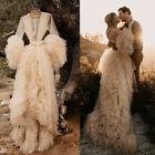 Wedding Dresses Women Sleepwear Bathrobe Long Sleeve Nightwear Robes Bride Dress
