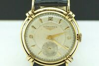 LONGINES 14K Solid Gold Gents Vintage Watch 1950 Stunning Knotted Lugs #22094B