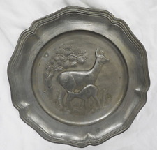 Antique / Vintage Relief Moulded Pewter Plate - Heavy Wall Plate - Deer and Fawn