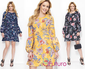 Woman ELEGANT Mini Kleid Puff Lange Ärmel Trendy Blumenmuster Größe 6-14 FA605