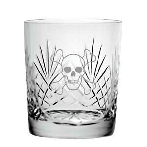 Cut Crystal 9oz Whisky Glass With Gothic Skull Design