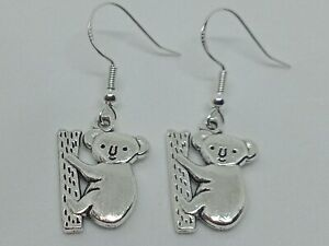 New Handcrafted Silver 925 Koala Charm Drop/Dangle Earrings Fun Novelty Animal