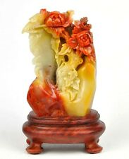 Natural ShouShan Stone Bird Flower Statue Sculpture /Agalmatolite Carving
