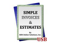 Simple Invoices and Estimates Windows Program Software Billing Quoting Bills USB