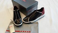 PRADA LEATHER LACE-UP SNEAKERS TWO TONE BLACK AND RED BRAND NEW SIZE 10 UK/12 US