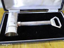 More details for measuring cup, bottle opener, cork screw novelty gavel, silver plated,