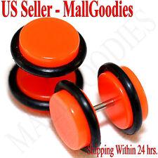 2070 Neon Orange Fake Cheater Illusion Faux Ear Plugs 16G Bar 00G = 10mm - 2pcs