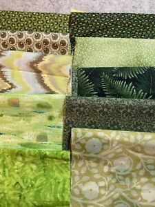 """Lot 10 Cotton Fabric Eighth Yard- Scraps 9"""" X 21"""" Shades of Green"""