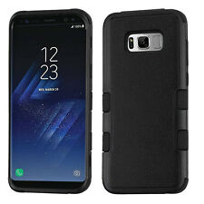 For Samsung Galaxy S8 - NATURAL BLACK HARD SOFT HYBRID TUFF PROTECTOR CASE COVER