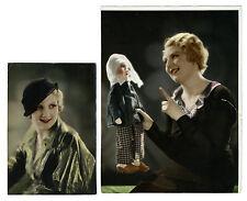 Photo peinte 2 tirage vintage tinted / femme Artdéco et poupée de tissu / jouet