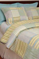 Queen Quilt Set Patchwork Coastal Cottage Aqua Blue Green Yellow Stripe