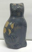 "V. Silva Tonala Mexico 8"" Blue Gray Ceramic Folk Art Cat Statue Figurine!"