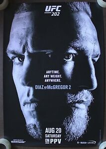 Official UFC 202 Nate Diaz vs Conor McGregor 2 Poster 27x39 (Near Mint)