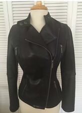 NWOT Michael Kors Soft Black Leather Coat Sz XS Retail $380 Moto Jacket