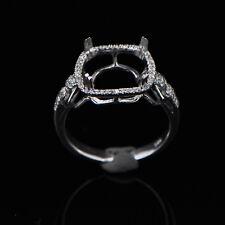 9x9mm Cushion Cut Solid 14K White Gold Semi Mount Natural Diamond Wedding Ring
