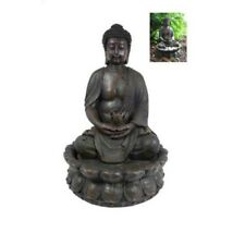 Antique Brown 49cm Rulai Buddha Water Fountain with Light on Lotus