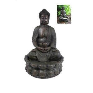 49cm Antique Style Praying Buddha Water Fountain with a Lotus Flower w/ LED Ligh