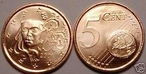 UNC 2001 FRANCE 5 EURO CENTS<HUMAN FACE>