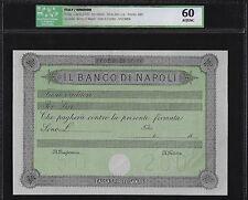 Italy- Banco di Napoli 50 to 200 Lire ND(1868) Specimen AUNC-UNC