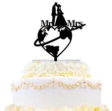 Mr & Mrs Bride & Groom Wedding Cake Topper Traveling World Earth Map Airplane