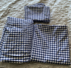 Pottery Barn Gingham Check Sheet Set Navy Blue Queen Cottage Chic Farmhouse 4pc