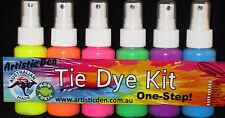 6 X Neon Spritz Spray Colours Tye Dye Set -professional Grade Tie Dye Kit