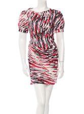 Balenciaga Multicolor Silk Red Pink Grey White Dress FR34 XS 0-2