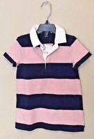NWT J Crew Always Crewcuts Girls Pink Blue Stripe Rugby Dress 2 3 5 6