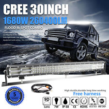 9D+ Quad-Row 1680W CREE 30Inch LED Work Light Bar Flood Spot Driving PK 3Row 32""