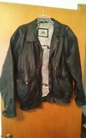 000 Mens Large Burks Bay Black Leather Jacket Coat