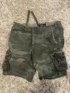 Abercrombie & Fitch Mens 33 Vintage Military Camo Cargo Shorts Fatigues A&F Army