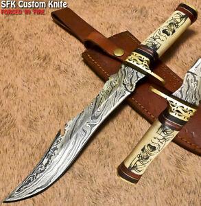 SFK Handmade Damascus Steel Camel Bone Trailing Hunting Bowie Knife Scrimshaw