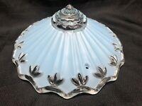 Vintage Antique Art Deco Light Blue Glass Ceiling Light Lamp Shade 3 Hole Mount