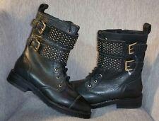 Rebecca Minkoff Black leather double strap studded stud zipper calf boots $275