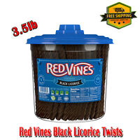 Red Vines Black Licorice Twists 3.5lb Jar, Sweets, Non-GMO, No Artificial Colors
