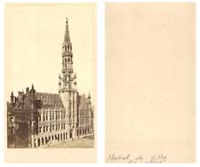 Belgique, Bruxelles L'Hôtel de Ville CDV vintage albumen carte de visite,